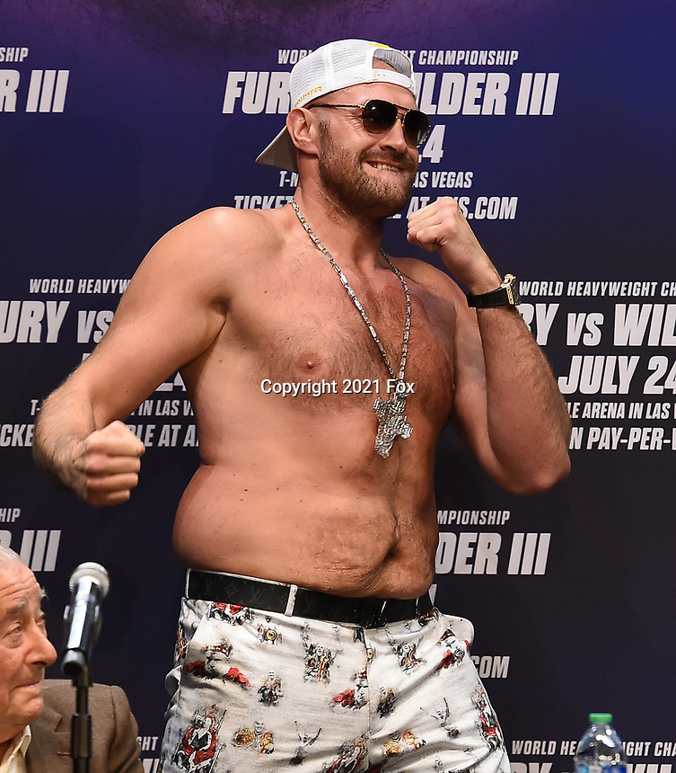 """LOS ANGELES, CA - JUNE 15: Boxer Tyson Fury attends a press conference for the FOX Sports PPV """"Tyson Fury vs. Deontay Wilder III"""" at The Novo by Microsoft at LA Live on June 15, 2021 in Los Angeles, California. Fury vs. Wilder will be on July 24 at the T-Mobile Arena in Las Vegas. (Photo by Frank Micelotta/HULU/PictureGroup)"""