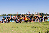 Pará State, Brazil. Aldeia Kokraimoro (Kayapo); the whole village gathered at the river side to show their opposition to the damming of the Xingu River.