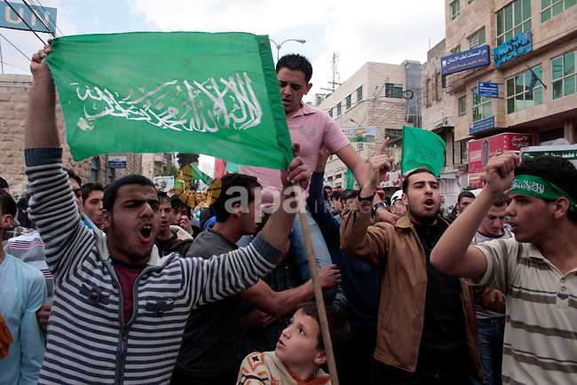 """Palestinian supporters of Hamas Islamist movement attend a rally to mark the 63th anniversary of """"Nakba"""" (catastrophe) on May 13, 2011 in the West Bank city of Hebron. Nakba means """"catastrophe"""" in reference to the birth of the state of Israel 63 years ago in British-mandate Palestine, which led to the displacement of hundreds of thousands of Palestinians who either fled or were driven out of their homes during the 1948 war over Israel's creation. Photo by Najeh Hashlamoun...Palestinians attend a rally in front of the church of Nativity in the West Bank city of Bethlehem, May 12, 2011, to mark the 63rd anniversary of al-Nakba Day when Israeli forces had ousted thousands of Palestinian families from their homes and established the Jewish state on May 15, 1948. Photo by Najeh Hashlamoun /Flash 90"""