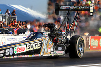 Sep 27, 2013; Madison, IL, USA; NHRA top fuel dragster driver Brittany Force during qualifying for the Midwest Nationals at Gateway Motorsports Park. Mandatory Credit: Mark J. Rebilas-