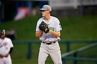 Lynchburg Hillcats starting pitcher Micah Miniard (31) checks the runner during the second game of a doubleheader against the Frederick Keys on June 12, 2018 at Nymeo Field at Harry Grove Stadium in Frederick, Maryland.  Frederick defeated Lynchburg 8-1.  (Mike Janes/Four Seam Images)