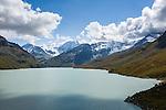 Switzerland, Canton Valais, Val d'Hérémence: reservoir Lac des Dix (2.364 m), at background summit Sex Quinaudoz (3.209 m) | Schweiz, Kanton Wallis, Val d'Hérémence:  der Stausee Lac des Dix (2.364 m), im Hintergrund der Sex Quinaudoz (3.209 m)