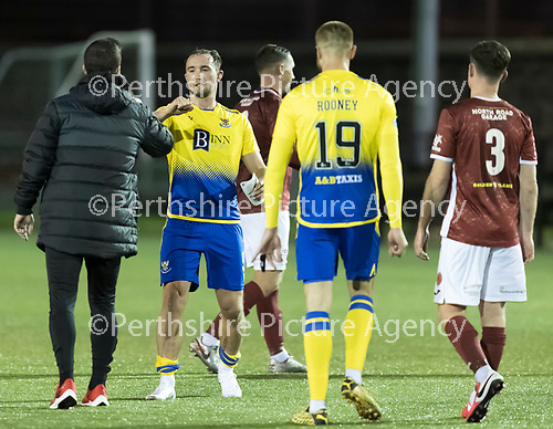 Kelty Hearts v St Johnstone…07.10.20   New Central Park  Betfred Cup<br />Chris Kane and Barry Ferguson at full time<br />Picture by Graeme Hart.<br />Copyright Perthshire Picture Agency<br />Tel: 01738 623350  Mobile: 07990 594431
