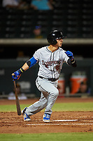 Scottsdale Scorpions Andres Gimenez (2), of the New York Mets organization, at bat during an Arizona Fall League game against the Mesa Solar Sox on September 18, 2019 at Sloan Park in Mesa, Arizona. Scottsdale defeated Mesa 5-4. (Zachary Lucy/Four Seam Images)