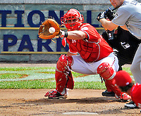 29 May 2011: Washington Nationals catcher Wilson Ramos in action against the San Diego Padres at Nationals Park in Washington, District of Columbia. The Padres defeated the Nationals 5-4 to take the rubber match of their 3-game series. Mandatory Credit: Ed Wolfstein Photo