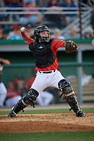 Batavia Muckdogs catcher Andres Sthormes (44) throws down to second base during a NY-Penn League game against the State College Spikes on July 3, 2019 at Dwyer Stadium in Batavia, New York.  State College defeated Batavia 6-4.  (Mike Janes/Four Seam Images)