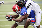 Southern Methodist Mustangs wide receiver Darius Joseph (18) and TCU Horned Frogs cornerback Ranthony Texada (11) in action during the game between the TCU Horned Frogs and the SMU Mustangs at the Gerald J. Ford Stadium in Fort Worth, Texas.  TCU leads SMU 28 to 0 at half.