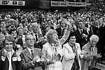 Ecstatic delegates at the Conservative Party Conference Brighton Sussex 1980. Banner reads Magge's Magic <br /> REF MARGARET THATCHER.