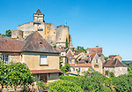 The medieval village of Castelnaud-la-Chapelle, located on the Dordogne River and dominated by the 12th century Chateau de Castelnaud, as seen from a spot within the village itself.