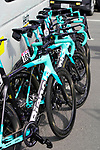 Mitchelton BikeExchange Bianchi Otlre bikes lined up at sign on before the start of Stage 6 of the 2021 UAE Tour running 165km from Deira Island to Palm Jumeirah, Dubai, UAE. 26th February 2021.  <br /> Picture: Eoin Clarke   Cyclefile<br /> <br /> All photos usage must carry mandatory copyright credit (© Cyclefile   Eoin Clarke)