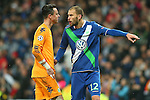 WfL Wolfsburg's Diego Benaglio (l) and Bas Dost after Champions League 2015/2016 Quarter-finals 2nd leg match. April 12,2016. (ALTERPHOTOS/Acero)