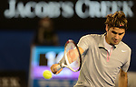 Roger Federer (SUI) loses his semifinal match at the Australian Open in Melbourne on January 25, 2013