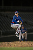 AZL Rangers relief pitcher Braden Pearson (37) delivers a pitch during an Arizona League game against the AZL Cubs 2 at Sloan Park on July 7, 2018 in Mesa, Arizona. AZL Rangers defeated AZL Cubs 2 11-2. (Zachary Lucy/Four Seam Images)