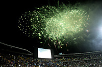 BOGOTÁ - COLOMBIA, 11-01-2019: Fuegos artificiales iluminan el cielo del Estadio Nemesio Camacho El Campín, durante inauguración del Torneo Fox Sports 2019, que se juega en la ciudad de Bogotá. / Fireworks illuminate the sky of the Nemesio Camacho El Campin Stadium, during the inauguration of the Fox Sports 2019 Tournament, which is played in the city of Bogotá. / Photo: VizzorImage / Luis Ramírez / Staff.