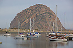 San Luis Obispo County, CA<br /> Sail boats moored in the harbor at Morro Bay with Morro rock in the distance