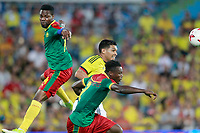 Colombia's Carlos Bacca (c) and Cameroon's Jonathan Ngwem (l) and Ernes Mabouka during international friendly match. June 13,2017.(ALTERPHOTOS/Acero) (NortePhoto.com) (NortePhoto.com)