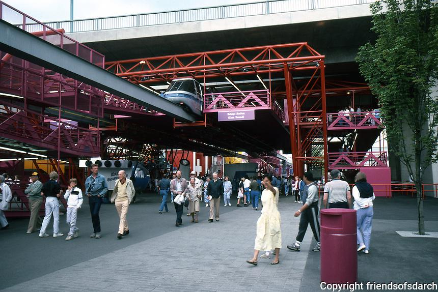 Vancouver: EXPO '86--Monorail & Cambie St. Bridge. Photo '86.