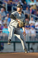 Vanderbilt Commodores starting pitcher Philip Pfeifer (22) winds up during the NCAA College baseball World Series against the TCU Horned Frogs on June 16, 2015 at TD Ameritrade Park in Omaha, Nebraska. Vanderbilt defeated TCU 1-0. (Andrew Woolley/Four Seam Images)