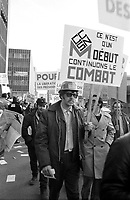 MONTREAL, CANADA -  File Photo - Union members demonstrate in the streets near Montreal's Palais de Justice (courthouse) for the liberation of their leaders (from prison), March 22, 1973.<br /> <br /> The  leaders of 3 biggest unions were jailed for refusing to follow a special law ending a general strike of all Quebec government employes in what became know as ''Le front commun''