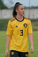 20200820 - TUBIZE , Belgium : Belgium's Loredana Humartus (3) pictured during a friendly match between Belgian national women's youth soccer team called the Red Flames U17 and Union Saint-Ghislain Tetre , on the 20th of August 2020 in Tubize.  PHOTO: Sportpix.be | SEVIL OKTEM