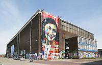 Nederland Amsterdam 2017. De Lasloods op het NDSM Terrein. De Braziliaanse streetartist Eduardo Kobra heeft een monumentaal portret van Anne Frank gemaakt op een van de loodsen. Het kunstwerk is recentelijk onderaan beklad met een tekst.  In 2018 opent in de Lasloods het grootste street art museum ter wereld. Foto Berlinda van Dam / Hollandse Hoogte