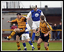 18/01/2003                   Copyright Pic : James Stewart.File Name : stewart-alloa v qots01.JOHN O'NEIL GETS ABOVE ANDY SEATON AND STEVE THOMSON TO HEAD HOME QUEEN OF THE SOUTH'S FIRST GOAL.....James Stewart Photo Agency, 19 Carronlea Drive, Falkirk. FK2 8DN      Vat Reg No. 607 6932 25.Office     : +44 (0)1324 570906     .Mobile  : +44 (0)7721 416997.Fax         :  +44 (0)1324 570906.E-mail  :  jim@jspa.co.uk.If you require further information then contact Jim Stewart on any of the numbers above.........