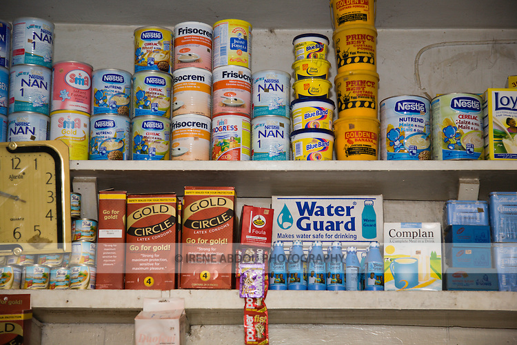 A proprietary patent medicine vendor (PPMV) in the Dakata area of Kano, Nigeria, display Gold Circle condoms and Waterguard - a chlorine product that makes water safe to drink - on it shelves. Both products are distributed by the Society for Family Health (SFH), Nigeria's largest indigenous non-profit and affiliate of the international social marketing organization, Population Services International (PSI).