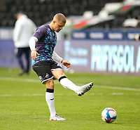 20th April 2021; Liberty Stadium, Swansea, Glamorgan, Wales; English Football League Championship Football, Swansea City versus Queens Park Rangers; Jake Bidwell of Swansea City during the warm up
