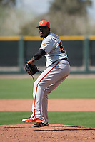 San Francisco Giants relief pitcher Eduardo Rivera (58) delivers a pitch to the plate during a Minor League Spring Training game against the Cleveland Indians at the San Francisco Giants Training Complex on March 14, 2018 in Scottsdale, Arizona. (Zachary Lucy/Four Seam Images)
