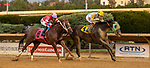 August 27, 2021 : Aaron's Tap (WV), #4, ridden by jockey Arnaldo Bocachica holds off Golden Key #8 ridden by jockey Fredy Pelroche to win an allowance race on Charles Town Classic Day at Charles Town Race Course on August 27, 2021 in Ranson, West Virginia. Tim Sudduth/Eclipse Sportswire/CSM