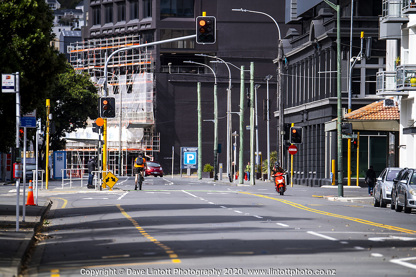 Corner of Taranaki Street and Wakefield Street at 1.20pm on Thursday. Wellington CBD during quarantine lockdown for COVID19 pandemic in Wellington, New Zealand on Thursday, 2 April 2020. Photo: Dave Lintott / lintottphoto.co.nz