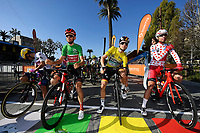 14th March 2020, Paris to Nice cycling tour, final day, stage 7;   HIGUITA GARCIA Sergio Andres (COL) of EF PRO CYCLING with the white jersey, BENOOT Tiesj (BEL) of TEAM SUNWEB with the green jersey, SCHACHMANN Maximilian (GER) of BORA - HANSGROHE with the yellow jersey and EDET Nicolas of Cofidis, Solutions Credits with the polka dot jersey pictured at the start of stage 7 of the 78th edition of the Paris - Nice cycling race, a stage of 166,5km with start in Nice and finish in Valdeblore La Colmiane on March 14, 2020 in Valdeblore La Colmiane, France