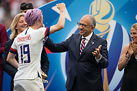 LYON, FRANCE - JULY 07: Megan Rapinoe and Carlos Cordiero during a game between Netherlands and USWNT at Stade de Lyon on July 07, 2019 in Lyon, France.