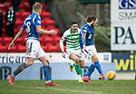 St Johnstone v Celtic…..01.03.20   McDiarmid Park   Scottish Cup Quarter Final<br />Stevie May's shot is blocked<br />Picture by Graeme Hart.<br />Copyright Perthshire Picture Agency<br />Tel: 01738 623350  Mobile: 07990 594431