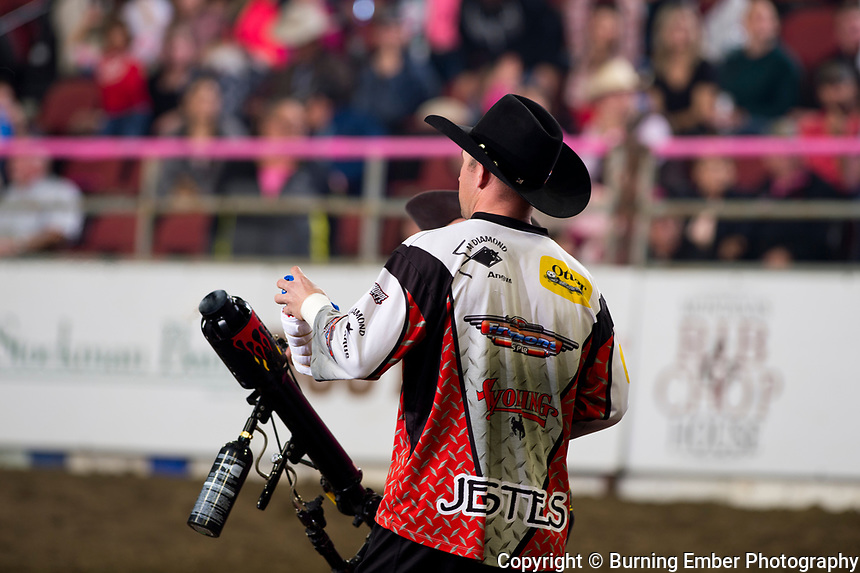 Nate Jestes and Kaleb Barrett shoot shirts into the crowd at the NILE Rodeo 2nd Perf Oct 18th, 2019.  Photo by Josh Homer/Burning Ember Photography.  Photo credit must be given on all uses.