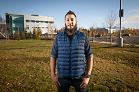Pre-nursing student Merlin Lang, photographed outside UAA's Health Sciences Building.