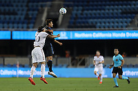 SAN JOSE, CA - OCTOBER 28: Marcelo Silva #30 of Real Salt Lake goes up for a header with Chris Wondolowski #8 of the San Jose Earthquakes during a game between Real Salt Lake and San Jose Earthquakes at Earthquakes Stadium on October 28, 2020 in San Jose, California.