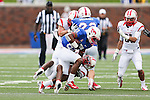 Southern Methodist Mustangs wide receiver JaBryce Taylor (83) in action during the game between the Rutgers Scarlet Knights and the SMU Mustangs at the Gerald J. Ford Stadium in Fort Worth, Texas. Rutgers defeats SMU 55 to 52 in triple OT.