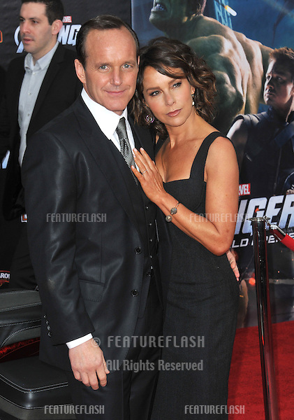 """Clark Gregg & wife Jennifer Grey at the world premiere of his new movie """"Marvel's The Avengers"""" at the El Capitan Theatre, Hollywood..April 11, 2012  Los Angeles, CA.Picture: Paul Smith / Featureflash"""