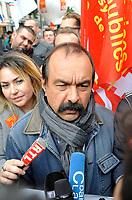 October 10 2017, Paris, France. Demonstration against the Labor Law.<br /> Philippe Martinez the CGT leader was present. # MANIFESTATION CONTRE LA LOI TRAVAIL