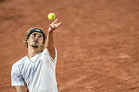 2nd October 2020, Roland Garros, Paris, France; French Open tennis, Roland Garros 2020;  Alexander Zverev of Germany serves during the mens singles third round match against Marco Cecchinato of Italy