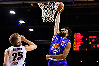 Dion Prewster of the Wellington Saints dunks the ball during the round one NBL match between the Wellington Saints and the Canterbury Rams at TSB Bank Arena, Wellington, New Zealand on Friday 30 April 2021.<br /> Photo by Masanori Udagawa. <br /> www.photowellington.photoshelter.com