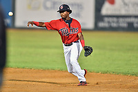 Elizabethton Twins shortstop Yeltsin Encarnacion (17) throws to first base during game two of the Appalachian League Championship Series against the Princeton Rays at Joe O'Brien Field on September 5, 2018 in Elizabethton, Tennessee. The Twins defeated the Rays 2-1 to win the Appalachian League Championship. (Tony Farlow/Four Seam Images)