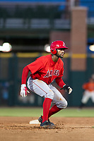 AZL Angels designated hitter Jordon Adell (25) leads off second base during a game against the AZL Giants on July 10, 2017 at Scottsdale Stadium in Scottsdale, Arizona. AZL Giants defeated the AZL Angels 3-2. (Zachary Lucy/Four Seam Images)