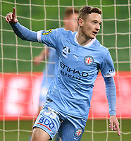 6th June 2021; AAMI Park, Melbourne, Victoria, Australia; A League Football, Melbourne Victory versus Melbourne City; Anthony Lesiotis of Melbourne City celebrates City scoring a goal for 0-1 in the 54th minute which was counted as an own goal by Nick Ansell of Victory