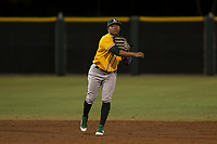 AZL Athletics shortstop Alexander Campos (8) makes a throw to first base during an Arizona League game against the AZL Giants Black at the San Francisco Giants Training Complex on June 19, 2018 in Scottsdale, Arizona. AZL Athletics defeated AZL Giants Black 8-3. (Zachary Lucy/Four Seam Images)