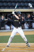 Shane Muntz (11) of the Wake Forest Demon Deacons at bat against the Notre Dame Fighting Irish at David F. Couch Ballpark on March 10, 2019 in  Winston-Salem, North Carolina. The Fighting Irish defeated the Demon Deacons 8-7 in 10 innings in game two of a double-header. (Brian Westerholt/Four Seam Images)
