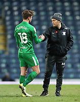 12th February 2021; Ewood Park, Blackburn, Lancashire, England; English Football League Championship Football, Blackburn Rovers versus Preston North End; Ryan Ledson of Preston North End shakes hands with Preston North End manager Alex Neill after the final whistle