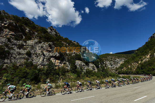 The peloton lined out during Stage 5 of Tour de France 2020, running 183km from Gap to Privas, France. 2nd September 2020.<br /> Picture: ASO/Alex Broadway | Cyclefile<br /> All photos usage must carry mandatory copyright credit (© Cyclefile | ASO/Alex Broadway)