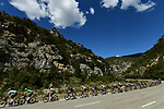 The peloton lined out during Stage 5 of Tour de France 2020, running 183km from Gap to Privas, France. 2nd September 2020.<br /> Picture: ASO/Alex Broadway   Cyclefile<br /> All photos usage must carry mandatory copyright credit (© Cyclefile   ASO/Alex Broadway)